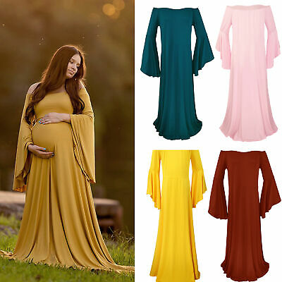 Women Pregnants Sexy Photography Props Off Shoulders Maternity Solid Dress UK