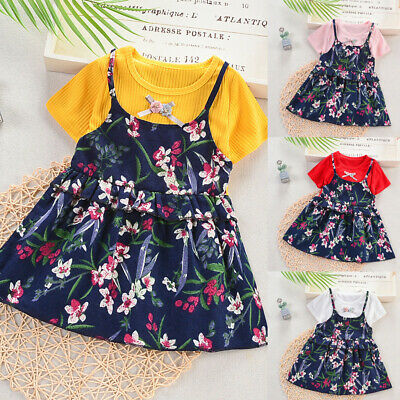 Toddler Baby Kids Girls Ruched Ruffles Floral Flowers Princess Dresses 12M-5T UK