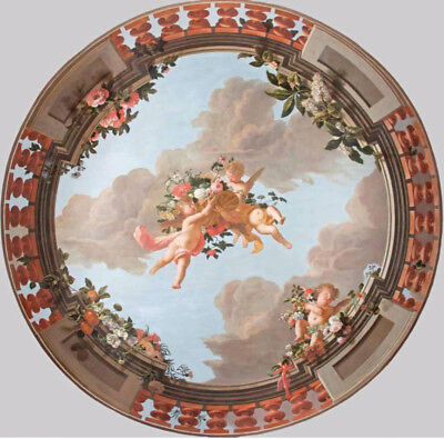 "oil painting handpainted on canvas ""Ceiling with putti and flowers ""@NO10016"