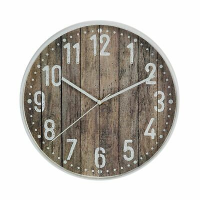 Hometime Plastic Case Rustic 30.5cm Wall Clock White Edge & Wood Effect Face