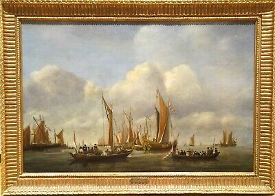 19th Century Dutch Royal Barge and Navy Ships Antique Painting Francois MUSIN