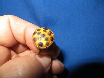 Phoenician Gilded Bronze Ring with Circle Color Glass Stone Circa 300 BC