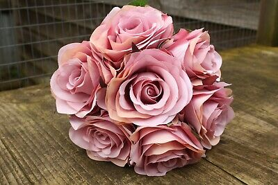 7 x DUSKY MAUVE PINK SHADED SILK ROSES 7cm TIED BUNCH / SMALL BOUQUET