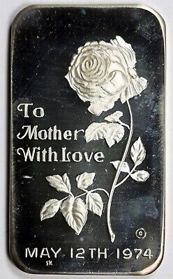 May 12 1974 To Mother With Love Liberty Mint .999 Fine Silver Bar - 1 Troy oz