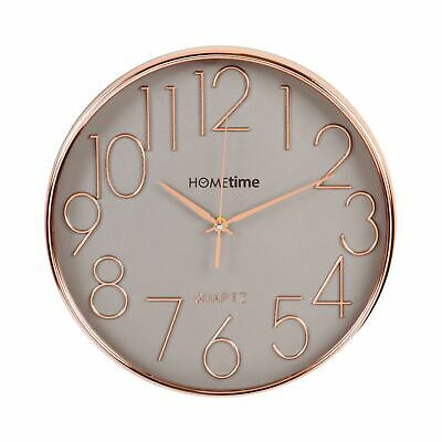 Hometime Round 30cm Wall Clock Rose Gold Effect With 3D Raised Numbers