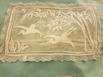 Antique Pictorial Filet Lace Small Pillowcase With Cranes & Tree Branches