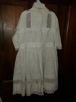 Antique Victorian Child's Dress Tucked Lace