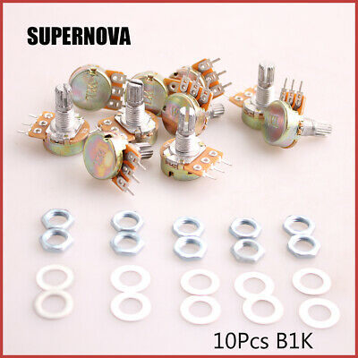 10pcs 1K Ohm Linear Taper Rotary Potentiometer Panel pot B1K 15mm With Nuts