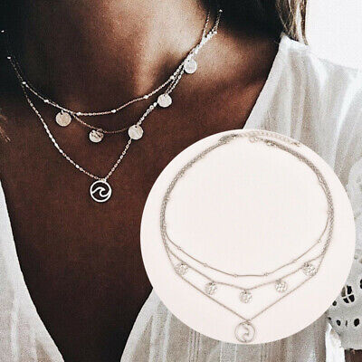 Chain Necklace Multi-layer Wave Silver Jewelry Circle Pendant Boho Round Women