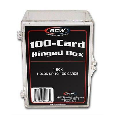 25  - BCW Brand 100 Card Storage Plastic Case Hinged Snap Boxes - hb100