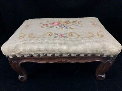 ANTIQUE VICTORIAN FOOTSTOOL Floral Rose NEEDLEPOINT Embroidery French Ottoman