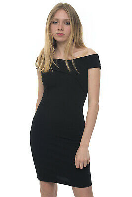 low priced 30455 f56a5 GUESS ABITO TUBINO in cady stretch Nero Poliestere Donna