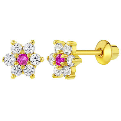 892ec2e95 18k Gold Plated Clear and Pink Crystal Flower Screw Back Earrings for Girls