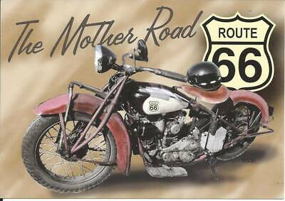 Route 66 Mother Road Postcard Classic Motorcycle 1926-85 Interstate Free Ship