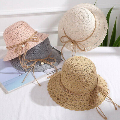 Summer Sun Hat Wide Brim Breathable Hollowed-out Foldable Bowknot Travel Outdoor