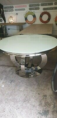 White Glass Top Circular Dining Table With Chrome Base Del Available