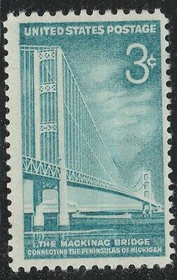 US 1109 Mackinac Bridge 3c single (1 stamp) MNH 1958