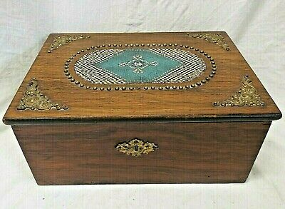 OLD Antique 1800's Victorian ROSE WOOD JEWELRY TRINKET BOX MICRO BEADING WOODEN