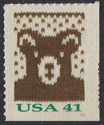 US 4210 Holiday Knits Bear 41c single (1 stamp from booklet 20) MNH 2007