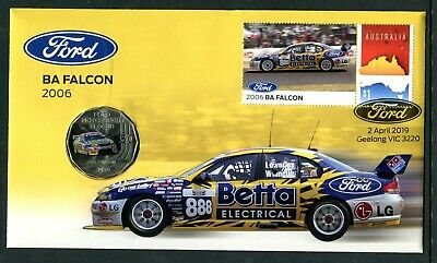 2019 Ford BA Falcon 2006 FDC/PNC With Coloured RAM 50c Coin