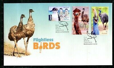 2019 Flightless Birds (Gummed Stamps) FDC - Post Marked Birdwood SA 5234