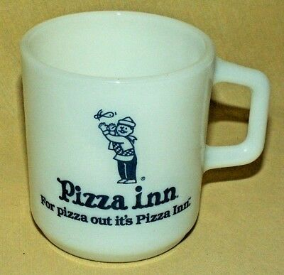 Pizza Inn Mug Galaxy White Milk Glass Usa Pizza Out Its Pizza Inn Coffee Cup*