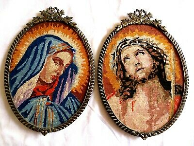 Craft Tapestry Completed Framed Religious Pictures Mary & Jesus Petite Point