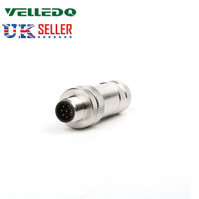 VELLEDQ Industrial Field Wireable Male M12P Connector 8-Pin Sensor Plug Fittings