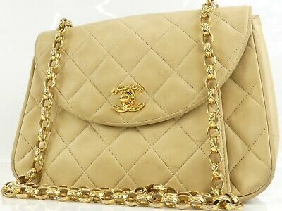 3e7f4f329d49 r1473 Auth Chanel Vintage Beige Quilted Lambskin CC Turn Lock Chain  Shoulder Bag