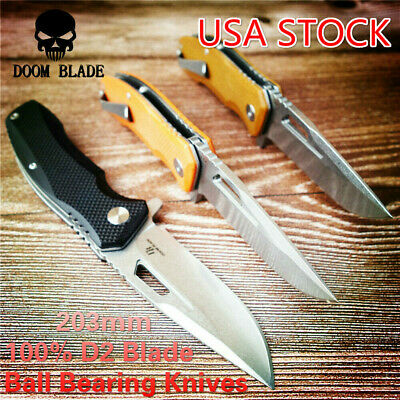 D2 Blade Ball Bearing Knives Folding White Blade Knife Camping Knife G10 Handle