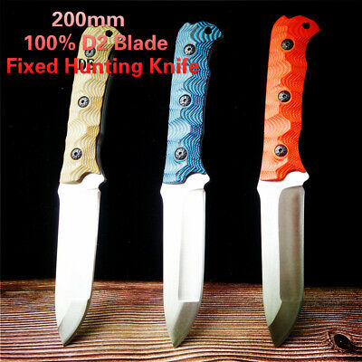 100% D2 Blade Fixed Hunting Knife D2 Steel G10 Outdoor EDC Hand Knives Camping
