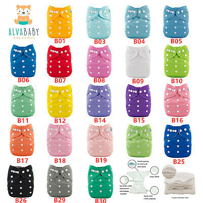 ALVA Baby Cloth Diapers Reusable Washable Pocket Nappies With Microfiber Insert