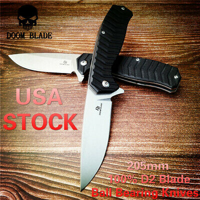 D2 Blade Ball Bearing Knives Hunting Folding Knife G10 Flipper Tactical Camping