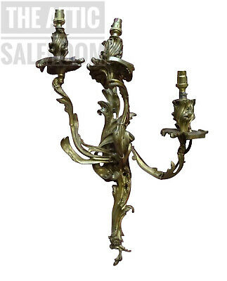 Wonderful Antique Vintage French Louis Style Gilt Brass Wall Sconce Light