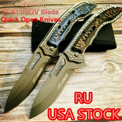Quick Open Knives Folding Knife G10 Handle 57HRC Outdoor Hunting Survival EDC