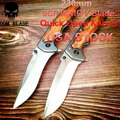 Quick Open Knives Portable Tactical Folding Knife Wood Handle Camping Survival