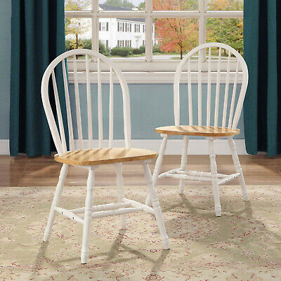 White & Oak Autumn Lane Windsor Solid 2-Wood Dining Chair Home Kitchen