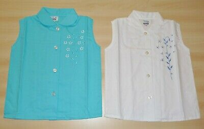 2 PACK OF VINTAGE 1970s GIRLS TURQUOISE & WHITE FLORAL EMBROIDERED BLOUSES 4 - 7