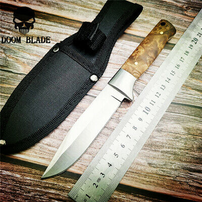 Fixed Blade Hunting Knife 57HRC Hardness Wood Handle Straight Knive Nylon Sleeve