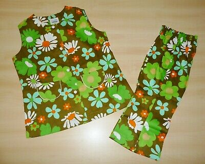 VINTAGE UNWORN 1970s GIRLS OLIVE GREEN FLORAL TUNIC & TROUSER SUIT 2 to 10 YEARS