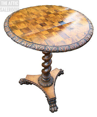 Stunning Antique Walnut Inlaid Barley Twist Lion Paw Circular Chess Games Table