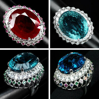 Ring Red Ruby Aquamarine Topaz Oval 27.03-40.20 CT. 925 Silver Size 5-6.5 US
