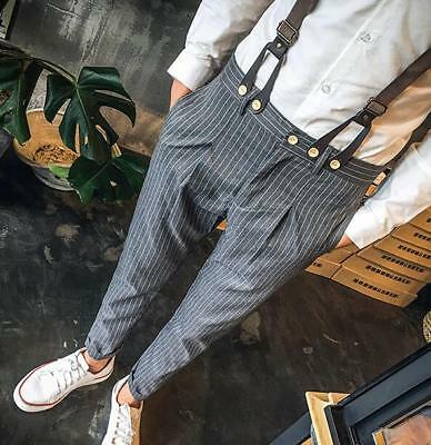 Men Casual Bib Pants Trousers Striped Harem Chic With Pocket Students Daily