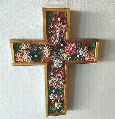 Hand Crafted Wood Wall Hung Cross With Beautiful Origami Flowers Inserts