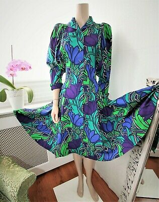 Droopy & Browns Angela Holmes Vtg Puff Sleeve Floral Hand Screen Print Dress 10