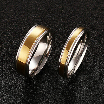 5-13 Couple Plating Gold Steel Size Rings Band Jewelry Stainless 316L Engagement
