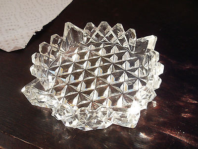 Glass Coaster Or Butter Dish With A Diamond Pattern Pointed Rim      No Maker