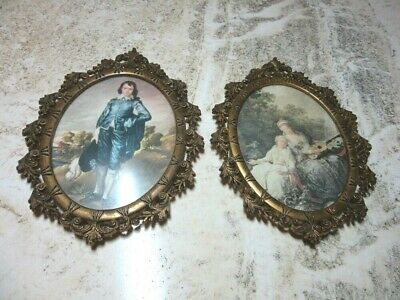 Pair of Vintage ornate Brass, convex glass ACTION frames. Italy