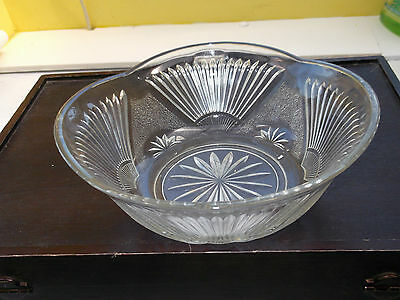 Nearly Square Glass Fruit / Dessert Bowl With A Ribbed Fan Pattern