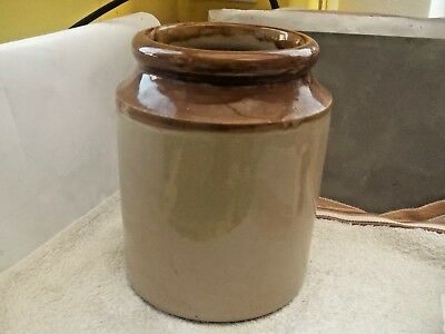 Large Stoneware Jar Fawn And Brown  No Lid     No Maker
